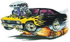 Chevy Nova Flames Car, Shirt Color - White or Gray, Shirt Type - Mens, Style & Size - Tshirt L