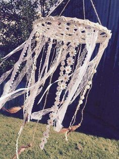 Dream catcher. Lace chandelier. Outdoor/wedding decor