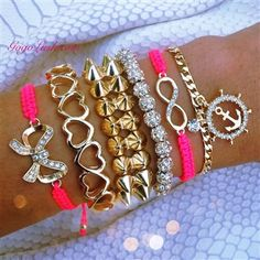 Hot Pink and Gold with Nautical Charm, Bow, Hearts and Infinity Symbol.