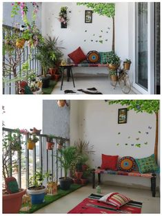 Fabulous Indian Home Decor Ideas - In recent years, ethnic home decor has become increasingly popular when deciding on a theme for decorating. Among the first of the choices in cultural. Indian Room Decor, Ethnic Home Decor, Home Decor Furniture, Home Decor Bedroom, Diy Room Decor, Small Balcony Design, Small Balcony Decor, Balcony Railing Design, Small Balcony Garden