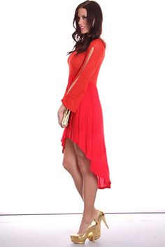 Red Long Slit Sleeves Shimmer High Low Hem Sexy Party Dress