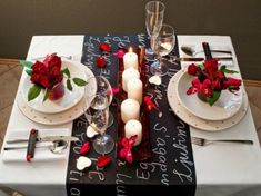 Table Setting - Perfect for two with a personal touch, a message written on chalk cloth table runner. Adorable!