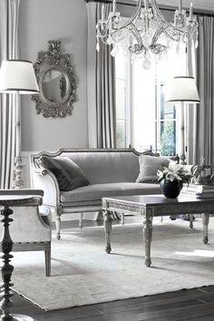 ♅ Dove Gray Home Decor ♅ classical grey and white living room with chandelier - formal living room. Living room, Design ideas, contemporary furniture, luxury furniture, interior design, home decor ideas. For More News: http://www.bocadolobo.com