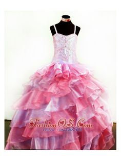 Colorful Organza With Appliques and Beading For Little Girl Pageant Dresses- $179.45  www.fashionos.com  2013special occasion dresses | ball gown little girl dresses | fall collection | wedding party dresses | winter collection | lace up back little girl dress | little girl pageant dress with floor length |
