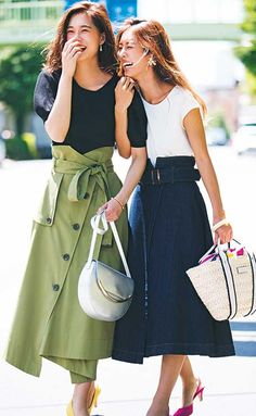 There are a number of methods to use women's casual skirts. Long Skirt Fashion, Modest Summer Fashion, Summer Work Outfits, Outfit Summer, Black Skirt Outfits, Midi Skirt Outfit, Modest Outfits, Business Casual Outfits, Casual Skirts