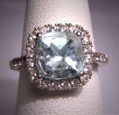 Vintage Art Deco Aquamarine Ring with White Sapphire Accents.  White Gold.