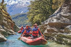 Book a kayaking trip in Queenstown and take in all the spectacular sights. Enjoy packrafting on the Kawarau River or a Funyak tour on the Dart River in Glenorchy, New Zealand. Adventure Activities, Adventure Tours, Crystal Clear Water, Boat Tours, South Island, Day Trip, West Coast