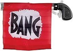 """Loftus Star Power Starter Prank Bang Gun Flag Pistol, Red/Black/White, Prepare to make people laugh this Halloween with this prank pistol, with a giant """"BANG"""" flag. Great for a Western costume. Monologues For Kids, Western Costumes, Wax Statue, Thing 1, Practical Jokes, Galaxy Space, All The Way Down, Party Guests, Halloween Themes"""