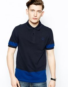 Fred Perry Laurel Wreath Polo Shirt with Block Colour and Shoulder Stripe