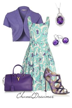 """Purple"" by chaneldreamer ❤ liked on Polyvore featuring Anna Field, Samantha Sung, L.K.Bennett, Yves Saint Laurent and Blue Nile"