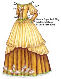 The Twelve Dancing Princesses (A Christmas Tale), Day Camellia's Gold Gown with Calla Lilies and Green Ribbons Paper Dolls Clothing, Doll Clothes, Christmas Tale, Gold Gown, Paper Dolls Printable, Fabric Dolls, Rag Dolls, Dress Sketches, Green Ribbon