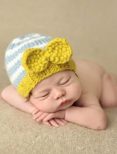 """""""Hattie"""" Gray and Citron Bow Knit Hat Baby   Toddler Clothing d23a32c5db3f"""