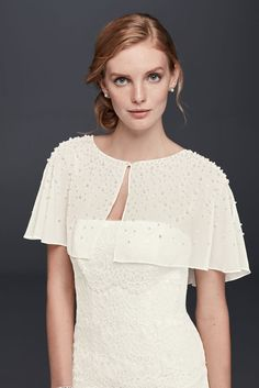 Pearl and Crystal Chiffon Capelet - Ivory, XS Capelet Pattern Sewing, Pretty Dresses, Beautiful Dresses, Bridal Alterations, Party Wear Dresses, Davids Bridal, Bridal Gowns, Chiffon, Bridesmaid Dresses
