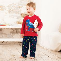These gorgeous pyjamas are bound to make little ones excited for bedtime. With fabulous scooting dinosaur applique and contrast star print on the bott Toddler Boy Fashion, Star Print, Mix Match, Pyjamas, Nightwear, Little Ones, Christmas Sweaters, Baby Boy, Boys