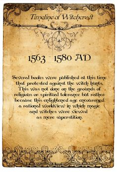 Book of Shadows:  #BOS Timeline of Witchcraft, 1563 - 1580 AD page.