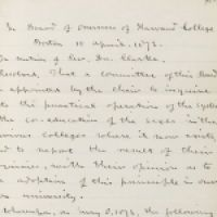 Resolution to appoint a committee to consider coeducation at Harvard 1872_courtesy of Harvard University Archives