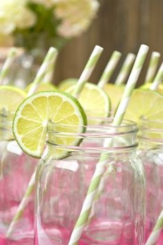 Mason Jars with Lime Slice and Striped Straws