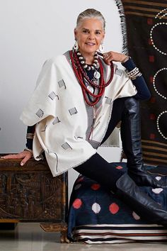 ibu Ambassador Ali MacGraw wearing her Ali tunic from Nagaland, India