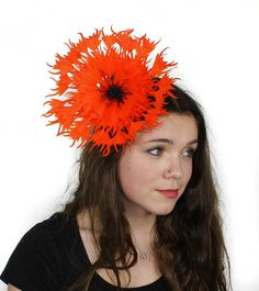 Bright Orange fascinator hat for cocktails by Hatsbycressida...