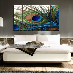 Canvas Set of 5 Still Life Feather of Peacock Stretched Canvas Print Ready to Hang - USD $ 79.99
