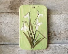Wild Flower, Hand Painted Ceramics and Pottery Tile, Decorative Wall Hanging, Trivet, Cutting, or Cheese Board