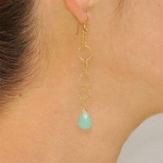Light Blue Amazonite Drop Chain Angelica Earring. $45.00, via Etsy.