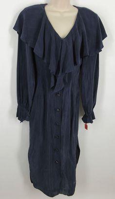 Beau David 4 Dress Blue Rayon Suede Ruffle V-Neck Long Sleeve Womens Maxi VTG #BeauDavid #Maxi #WeartoWork