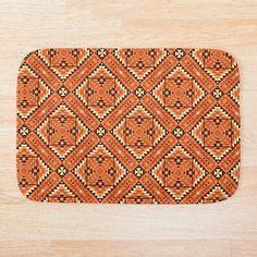Orange Brick, Persian Pattern, Himalayan, Ferns, Nepal, Navajo, Kilim Rugs, Bath Mat, Oriental