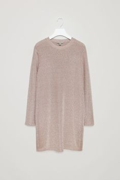 COS image 2 of Knitted metallic dress in Dusty Pink