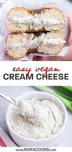 Easy Vegan Cream Cheese is made with cashews and dairy free yogurt, and ready in… – Food: Veggie tables Best Vegan Cheese, Vegan Cheese Recipes, Cream Cheese Recipes, Dairy Free Recipes, Recipes With Vegan Yogurt, Vegan Spread Recipe, Dairy Free Foods, Easy Vegan Food, Vegan Cheese Substitute
