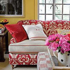 Refresh with Slipcovers- How sweet is a red couch!?