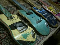 Guitars made out of old skateboards #guitars #music #art