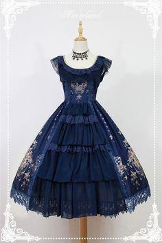 Neverland Lolita ~Gem Swan~ Elegant Lolita JSK Dress with Front Open Design - 4 Colors Available Harajuku Mode, Harajuku Fashion, Kawaii Fashion, Lolita Fashion, Cute Fashion, Rock Fashion, Women's Fashion, Fashion Photo, Fashion News