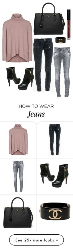 """""""Cosy winter jumpers and jeans : )"""" by lyndseyfawcett on Polyvore featuring Reiss, Balmain, Chanel, Huda Beauty, Prada and Louis Vuitton"""