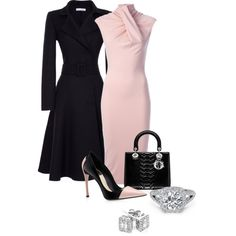 A fashion look from August 2013 featuring dresses, Oscar de la Renta coats and Reeds Jewelers earrings. Browse and shop related looks. Komplette Outfits, Classy Outfits, Beautiful Outfits, Business Outfits, Business Fashion, Business Chic, Business Wear, Work Fashion, Fashion Looks