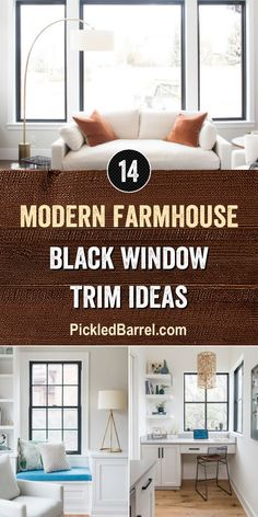 Today, we have a closer look at modern farmhouse black window trim ideas. If you've thought about the black window trim trend but wondered if it would really work for you, then you should def… Farmhouse Family Rooms, Modern Farmhouse Bedroom, Farmhouse Interior, Modern Farmhouse Kitchens, Red Farmhouse, Farmhouse Decor, Black Window Trims, Black Windows, Living Room Windows