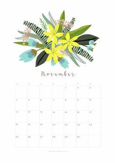 Printable November 2018 Calendar Monthly Planner - Floral Design - A Piece Of Rainbow