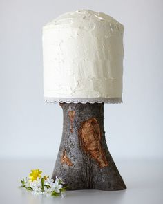 Cute Rustic Wedding Cake @Michael Manna can you make me some of these with the trees you've cut down at back?