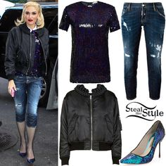 Gwen Stefani was spotted arriving at her hotel in New York on Tuesday wearing a Nina Ricci Sequin Top ($1,990.00), her Noir Kei Ninomiya Satin Braided Collar Bomber Jacket ($1,060.00), Dsquared2 Skinny Cropped Jeans ($565.00) and a pair of Sophia Webster Coco Iridescent Sequin Pumps ($495.00).