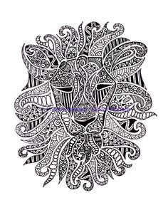 Black and White Lion Face Doodle Print by CreativeAttempts on Etsy, $25.00