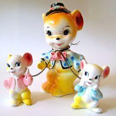Vintage 1950s Anthropomorphic Kitsch Kawaii China Ceramic Mouse Mice Figurines Trio
