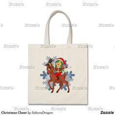 Christmas Cheer Tote Bag #christmas #holidays #reindeer #chibi #kawaii