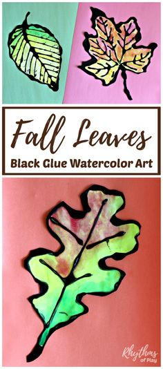 Create beautiful fall leaves art with black glue and watercolors. Painting maple, oak, and beech leaves using black glue as a resist medium is an easy autumn art project for kids and adults. Includes FREE printable fall leaf templates!