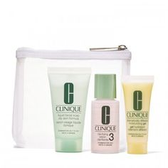 Clinique 3-Step Trial Kit    $9.50  Size:  Includes Liquid Facial Soap (30 ml), Clarifying Lotion (30 ml), Dramatically Different™ Moisturizing Lotion or Gel (15 ml), and a mesh bag