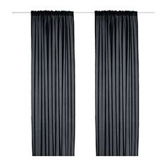 Backdrop curtains if required. Would need 2 sets for 2.4 wall VIVAN Curtains, 1 pair, black - 145x250 cm - IKEA
