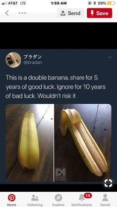 Pinning for the fact that it's a double banna! Looks cool! Funny Quotes, Funny Memes, Hilarious, Qoutes, Chain Messages, Teen Posts, Humor, Looks Cool, Mind Blown