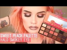 TOO FACED SWEET PEACH PALETTE | HALO SMOKEY EYE - YouTube Sweet Peach Palette Swatches, Peach Palette Looks, Peach Pallete, Peach Eyeshadow, Eyeshadow Makeup, Younique Eyeshadow, Eyeshadow Palette, Makeup Younique, Natural Eyeshadow
