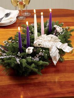 Balsam Advent Centerpiece with 5 Candles - Vermont Country Store