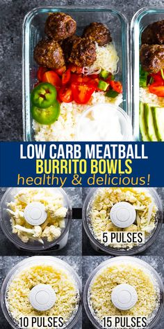 With taco-seasoned meatballs, lime cauliflower rice, pico de gallo, cheese and sour cream, these low carb meatball burrito bowls are healthy and delicious! Prep them ahead for easy grab and go lunches with just 5 g net carbs per serving. #sweetpeasandsaffron #mealprep #lunch Lunch To Go, Lunch Meal Prep, Meal Prep Bowls, Keto Recipes, Dinner Recipes, Healthy Recipes, Portobello Mushroom Recipes, Slow Cooker Freezer Meals, Burrito Bowls