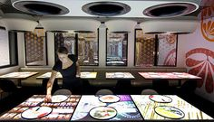 Inamo London, touching tables restaurant interaction. Great fun but very small portions.